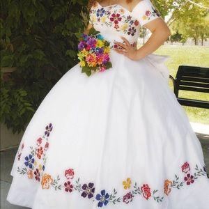 BEAUTIFUL CUSTOM MEXICAN FLOWER QUINCE DRESS